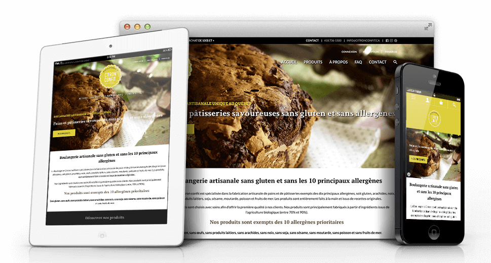 Conception du site web du Boulangerie citron confit